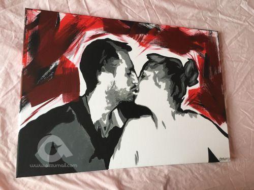 Ritratto di Coppia come idea regalo Matrimonio moderno. 2 Tele...