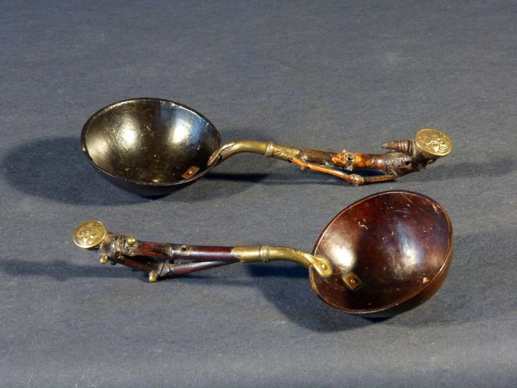 Antique for sale Bowls and spoons asian coconut and bronze Spoon Cultery Tableware kitchen fireplace accessory