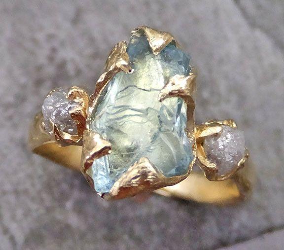 Raw Uncut Aquamarine Diamond Gold Engagement Ring Wedding Ring Custom One Of a Kind Gemstone Ring Bespoke Three stone Ring