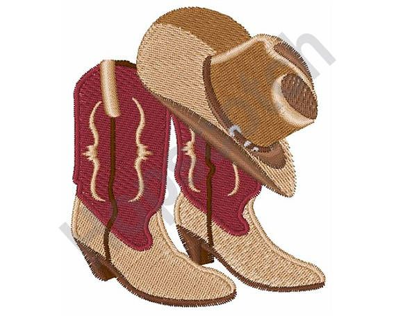27ffee728aa Cowboy Boots And Hat - Machine Embroidery Design