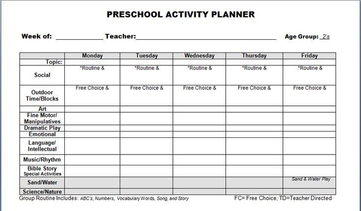 images of preschool lesson plans | Preschool Lesson Plan Template