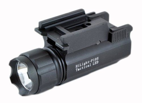 Aimkon HiLight P10S 400 Lumen Pistol LED Strobe Flashlight with Weaver Quick Release, Black