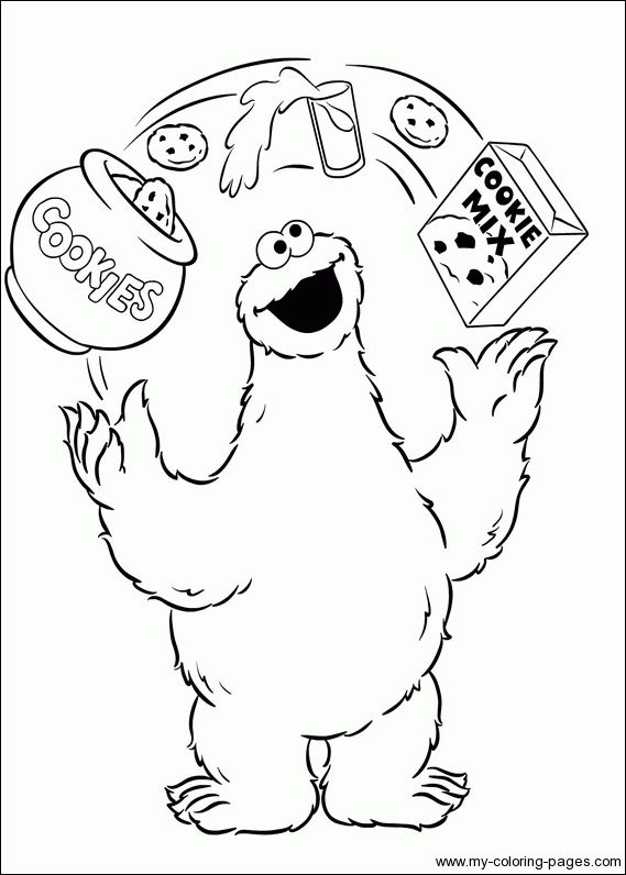 cookie monster eat a lot coloring pages for kids printable sesame street coloring pages for kids - Baby Cookie Monster Coloring Pages