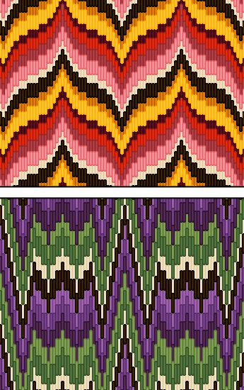 Bargello needlepoint bottom with silvers instead of greens