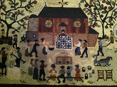 Primitive Vintage Hand Hooked Wool Rug Peggy Teich Huge Country Auction USA