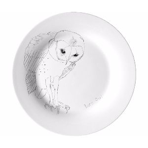 Ellie POP Barn Owl Bone China Plate: Barn Owl Bone China Dinner Plate by Ellie POP. This is a charming special edition china dinner plate from the 'Some British Birds' collection, with barn owl drawing by artist and musician Edwyn Collins.