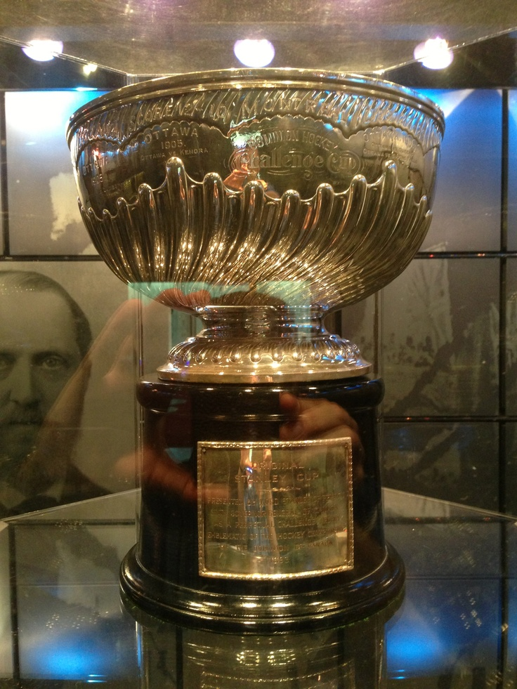 The original Stanley Cup, in the Hockey Hall of Fame.
