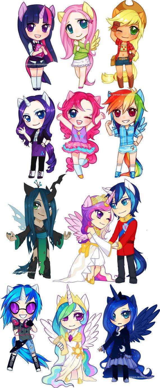 Pinkiepie, Fluttershy, Rainbow Dash, Twilight Sparkle, Rarity, Luna, Celestia, Candace