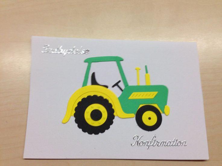 indbydelse til konfirmation, fra en dreng der er vild med traktorer
