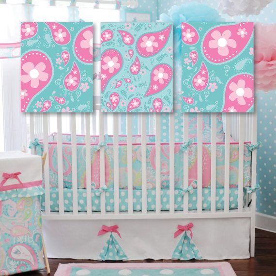 Baby Girl Nursery Art Print. Girl Nursery Decor. Paisley Nursery Art. Paisley…