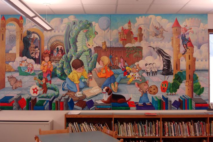 Elementary library mural bing images school mural for Mural school