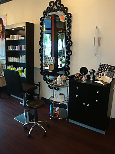 Styling stations makeup chair and salon stations on pinterest for Salon furniture makeup station