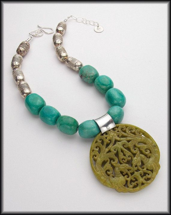 WAILEE  Turquoise Nuggets  Handcarved Jade by sandrawebsterjewelry, $195.00