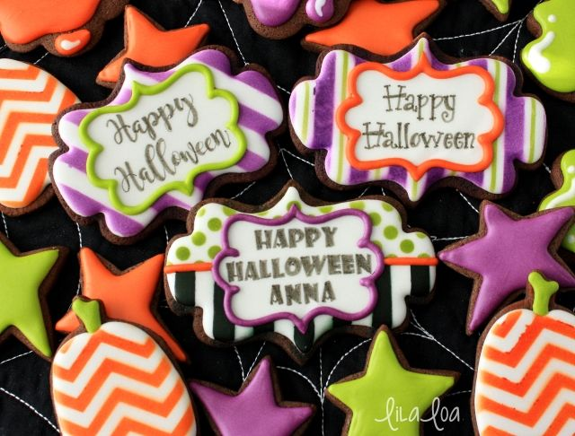 how to make decorated stencil centerpiece cookies - Decorating Halloween Cookies