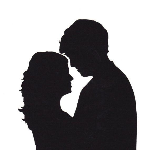 Custom Couple Silhouette Portrait Papercutting via Etsy