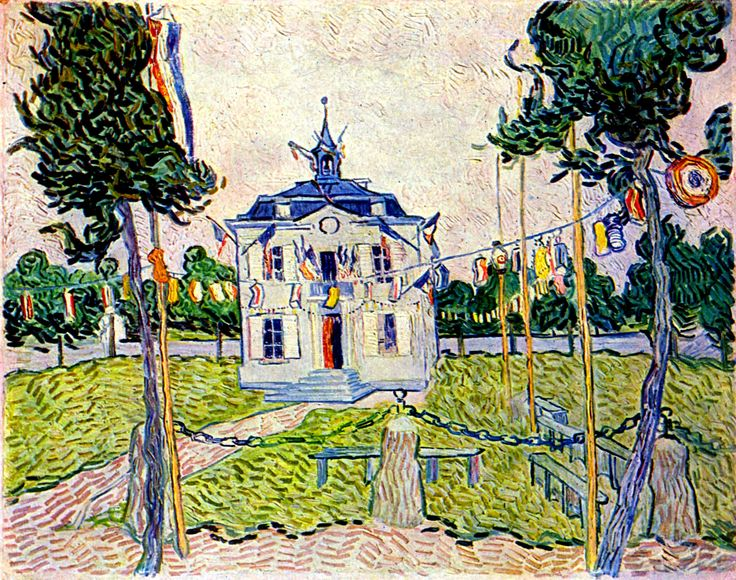 Auvers Town Hall in 14 July 1890 by @artistvangogh #postimpressionism