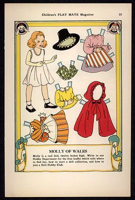 "Uncut ""Children's Play Mate"" Magazine Paper Doll Molly of Wales 2597 
