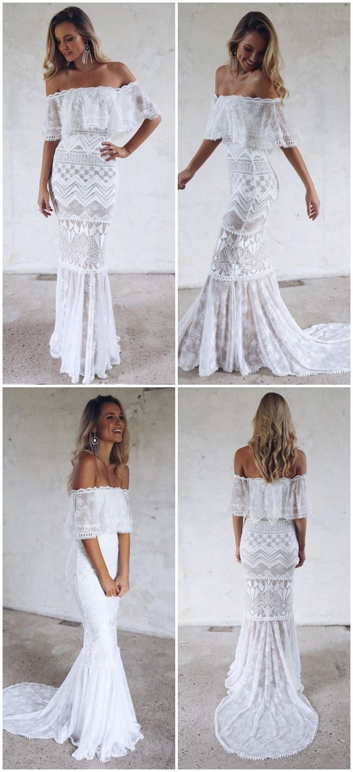 Modest Off The Shoulder Mermaid Wedding Dresses Vintage White Lace Long Bridal Gowns Weddingideas Wedding Wedding Dresses Wedding Dresses Lace Lace Weddings
