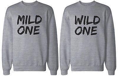 Mild One and Wild One BFF Matching Grey Sweatshirts for Best Friends