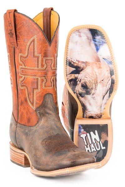 "The Tin Haul Boots  GO BALLS OUT STYLE# 14-020-0007-0251 BR Handmade Crafted Boot * Double Welt * Walking Heel * Cushioned Insole * Square Toe * All Leather Heel and Lining * 11"" Shaft * With a Graphic Obvious Sole Call to order 618-245-6577"