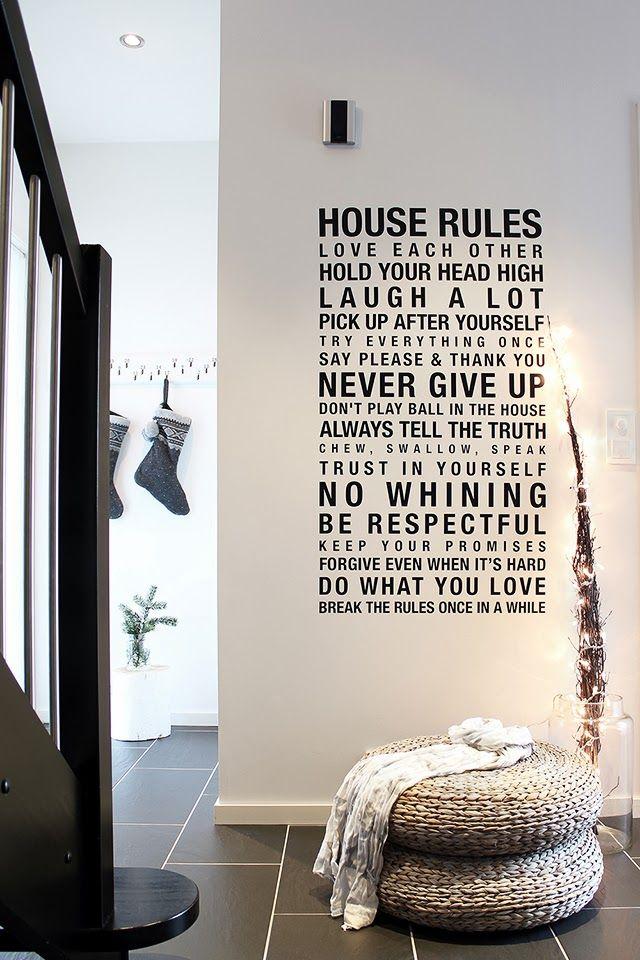 Sticker géant les règles de la maison Tonje Boganes via Nat et nature