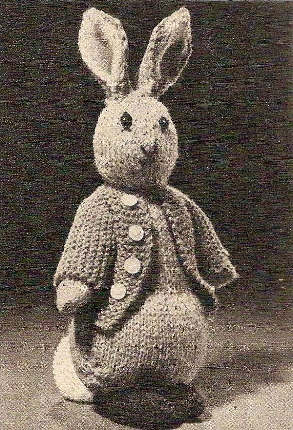 Rabbit Knitting Pattern Toy : Peter rabbit vintage knitting pattern bunny