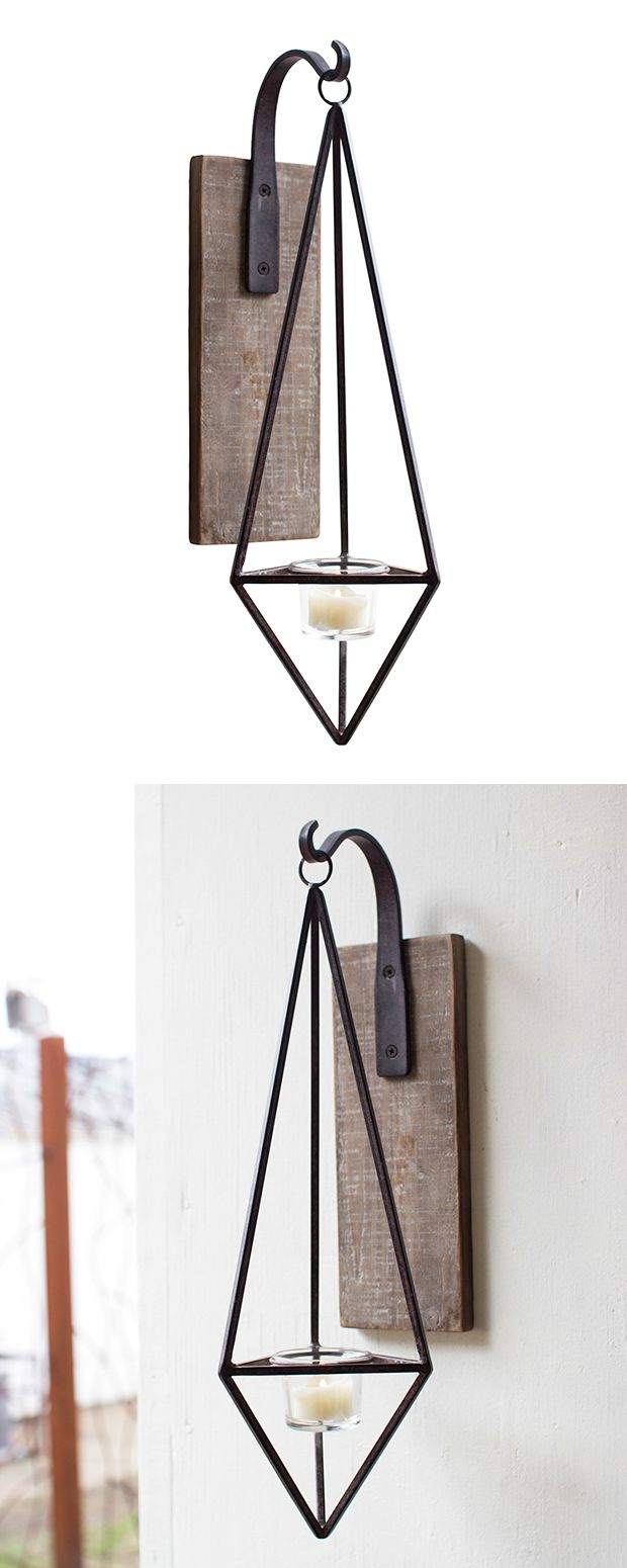 You'll appreciate the contemporary yet transitional feel of this Bristol Candle Sconce. A modern, geometric silhouette resembles a diamond suspended from a curvaceous branch. Tasteful earthy materials,... Find the Bristol Candle Sconce, as seen in the Valentine's Day Gifts for Her Collection at http://dotandbo.com/collections/valentines-day-gifts-for-her-2016?utm_source=pinterest&utm_medium=organic&db_sku=117351