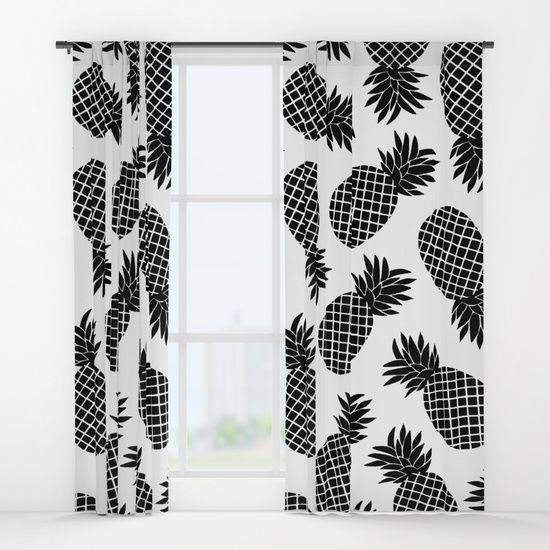 Pineapple In Black Window CurtainsBlack and white Pineapple pattern. Pineapple black and white summer pattern. @society6 #redbubble #pattern #summer #print #pattern #pineapple #white #black&white #society6 #printmaker #print #fashion #trends #curtains #decor #home