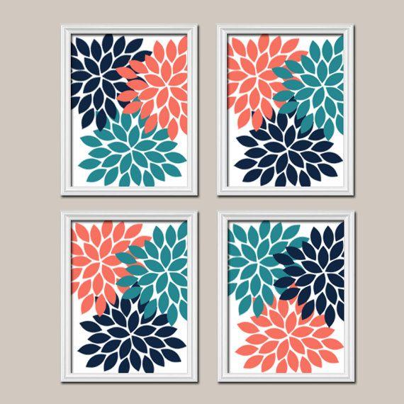Coral Teal Navy Wall Art, CANVAS or Prints Bedroom Pictures, Teal Bathroom Artwork, Flower Burst Wall Art, Dahlia Petals Set of 4 Home Decor