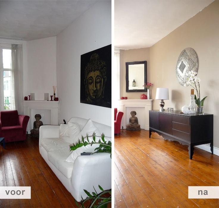 Restyling project appartement Amsterdam / woonkamer voor en na foto / ruimte voor een dressoir