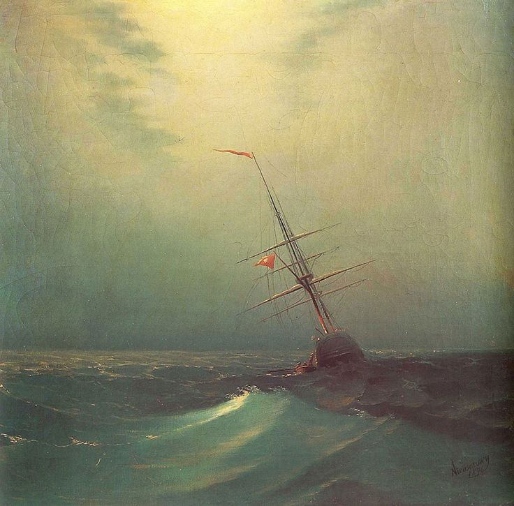 Ivan Konstantinovich Aivazovsky. Blue Waves, Date: 1876. Buy this painting as premium quality canvas art print from Modarty Art Gallery. #art, #canvas, #design, #painting, #print, #poster, #decoration