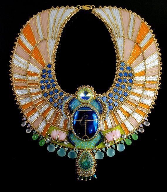 Aether - collier scarabée égyptien - sur commande - déclaration brodé collier, collier égyptien