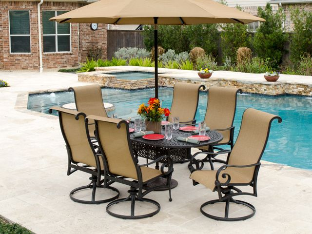 Royal Terrace Savannah Sling Dining Has Distinctive Styling And Hi Back  Chairs For Comfort And
