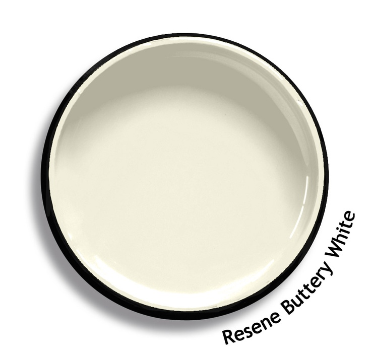 Resene Buttery White is a fresh French cream, influenced by yellow. From the Resene Karen Walker Paints colour range. Try a Resene testpot or view a physical sample at your Resene ColorShop or Reseller before making your final colour choice. www.resene.co.nz/karenwalker.htm