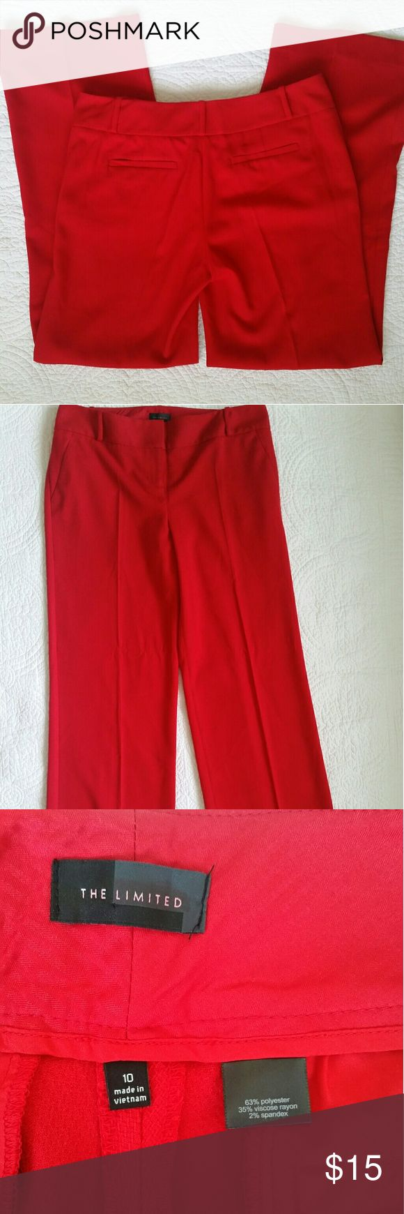 The Limited red dress pants Lady in Red! Attention! Nice soft dressy pants.  Faux pockets. Size 10 Inseam: 31 inches The Limited Pants Trousers