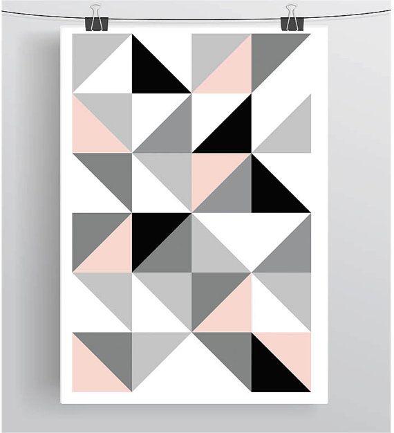 Blush and Gray Print Geometric Art Triangle Print par PrintAvenue