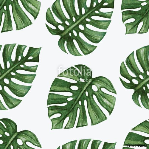 Wektor: Watercolor tropical palm leaves seamless pattern. Vector illustration.