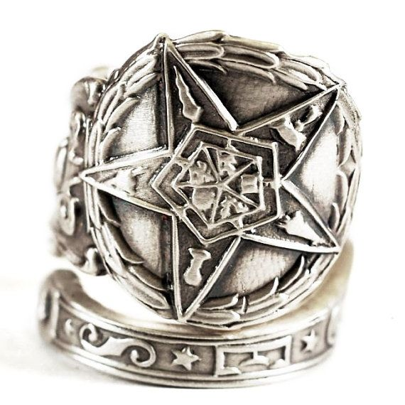 O.E.S. Ring, Sterling Silver Spoon Ring, Order of the Eastern Star Ring, Masonic Jewelry, Freemason Jewelry, Adjustable Ring Size (1071)