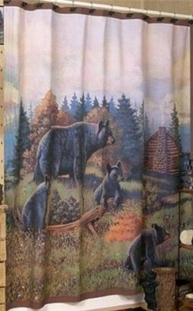 Amazon.com: BLACK BEAR Cubs Bathroom SHOWER CURTAIN Lodge Decor New: Home U0026