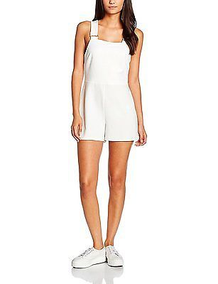 10, White, New Look Women's Pinny Metal Detail Playsuit Dress NEW
