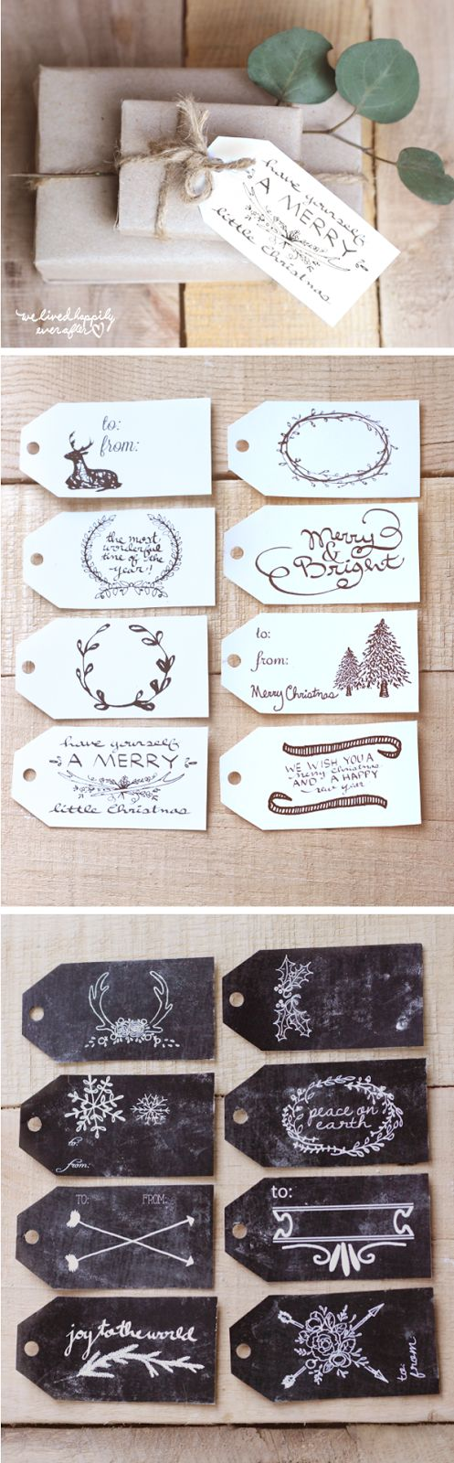 FREE Printable Christmas Gift Tags - In White and Chalkboard Designs. Would look great printed on brown craft paper too!