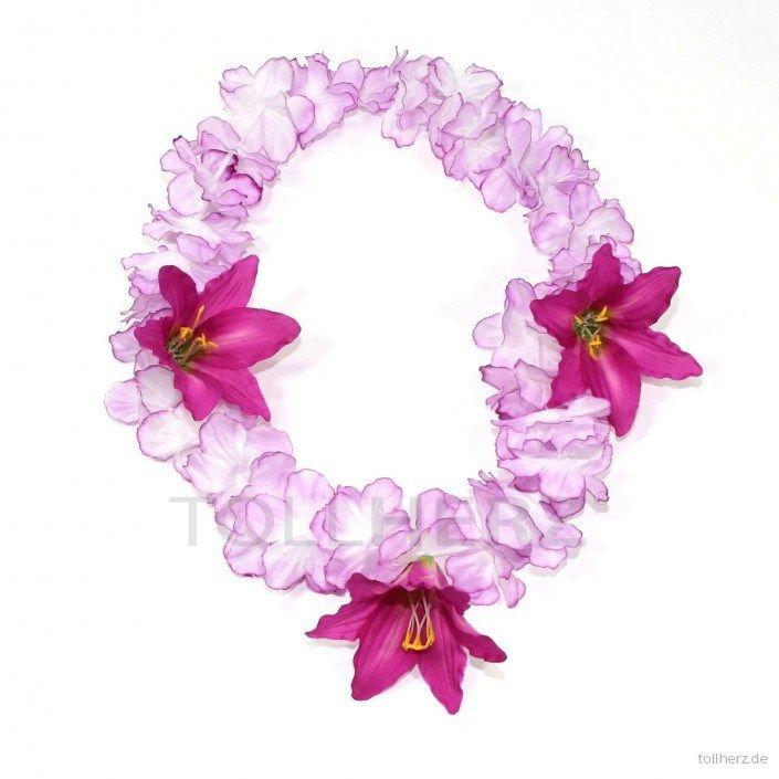 Hawaiikette, Blumenkette in violett-weiß mit XXL-Blüten