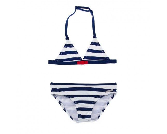 Bañador Bikini de Niña Rayado Marino