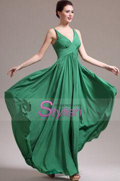 2015 V Neck A Line Prom Dress Chiffon Pleated Bodice $ 119.99 STPDPZ73M5 - StylishPromDress.com