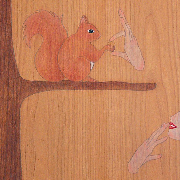 """i've brought you an acorn little squirrel!""  ""t'he portat un aglà petit esquirol!"""