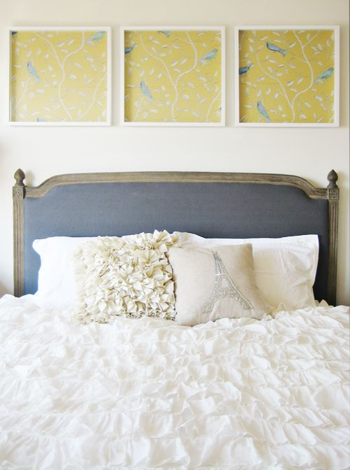 Don't have enough money to wall paper a whole wall or room, or you're renting... put wallpaper in frames: Idea, Framed Wallpaper, Framed Fabric, Comforter, Master Bedroom, Bedrooms