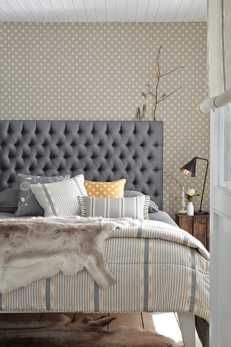 Bedhead in Plain Charcoal fabric with assorted cushions in complementing shades. Add a throw for a real Scandinavian vibe...