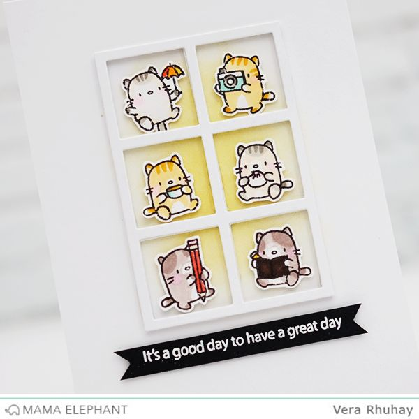 Mama Elephant November Stamp Highlight with Little Cat Agenda. Supplies: ME STAMPS :  Little Cat Agenda | Birthday Wishes | Mini Messages |  Sunday Sentiments | Labeled Messages ME CREATIVE CUTS : Peek a Frame