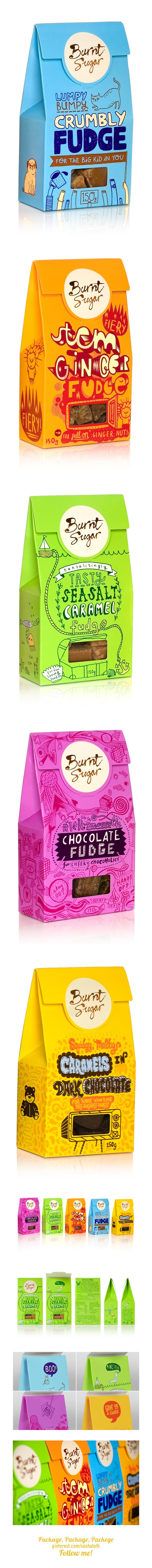 Burnt Sugar packaging *** Burnt Sugar is a boutique brand of fudge with humble beginnings. Started by Justine Cather, who nabbed her mum's recipe and took it to market (London's famous Borough Market to be precise), word soon got out about the delicious lumpy, bumpy pieces of sweetness and its popularity soared. by d.studio, via Behance
