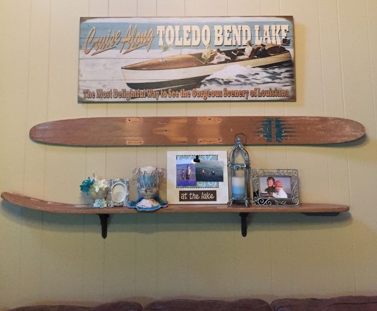 Shelf made from vintage water skis for my lake house.